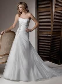classic strapless organza a line corset wedding dresses