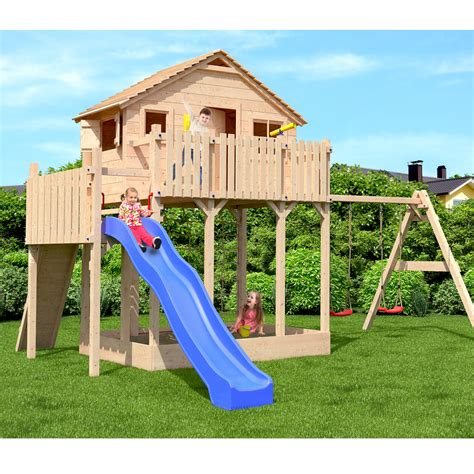 childrens playhouse with slide and swing xxl play tower tree house stilt kids playhouse sandpit