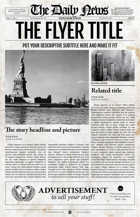 Newspaper Template 2x1 Page Newspaper Template Adobe Indesign 8 5x11 11x17 Inch 1920s Newspaper Template