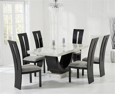 Marble Dining Room Table And Chairs by Raphael 170cm Cream And Black Pedestal Marble Dining Table