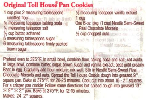 toll house cookie recipe original toll house pan cookies recipe 171 recipecurio com