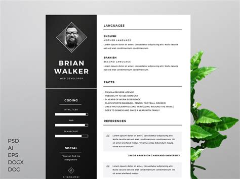 Free Resume Template For Word Photoshop Illustrator Freebies Fribly Free Photoshop Resume Templates