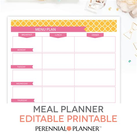 breakfast lunch dinner menu template menu plan weekly meal planning template printable editable