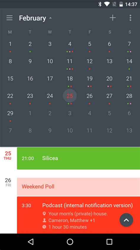calendar for android calendar view android calendar template 2016