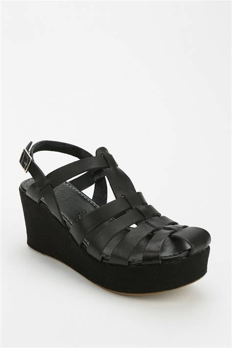 shoes bc bc footwear next in line caged wedge in black lyst