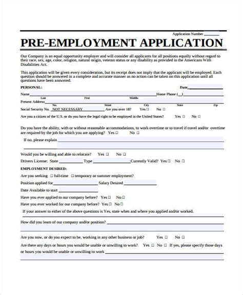 pre employment application template 100 word application form template unemployment