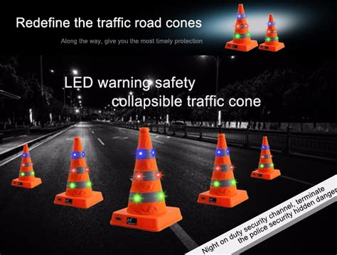 rechargeable led light protable traffic cone road safety