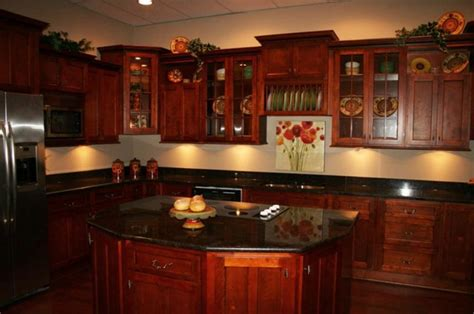 red cherry cabinets kitchen cherry cabinets black granite photos