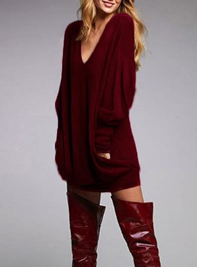 Dress Kemeja Merah Tunik Dress Maroon slouch dress burgundy v neck sleeve
