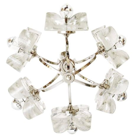 Flower Pendant Chandelier Mazzega Glass Chrome Flower Chandelier Pendant Light 1960s For Sale At 1stdibs