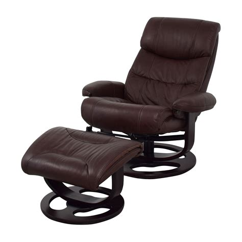 59 Off Macy S Macy S Aby Brown Leather Recliner Chair Reclining Chair And Ottoman