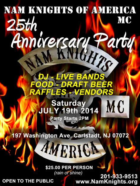 event details nam knights 25th anniversary party weekend