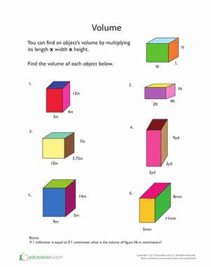calculating volume worksheet education com