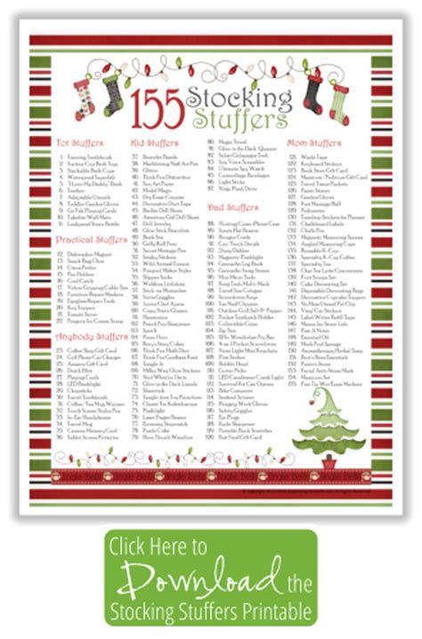 stocking stuffers ideas stocking stuffer ideas with free printable list