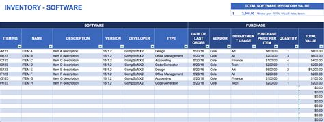 it inventory template free excel inventory templates