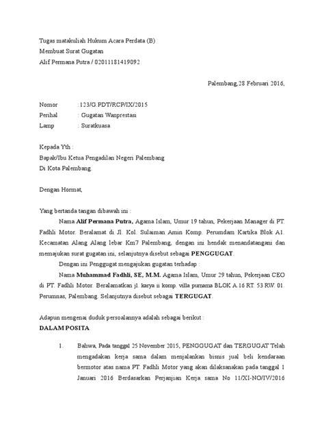 Contoh Surat: Contoh Surat Gugatan Wanprestasi Pdf