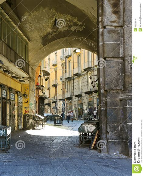 Italian House Plans arch and street in old city of naples italy editorial