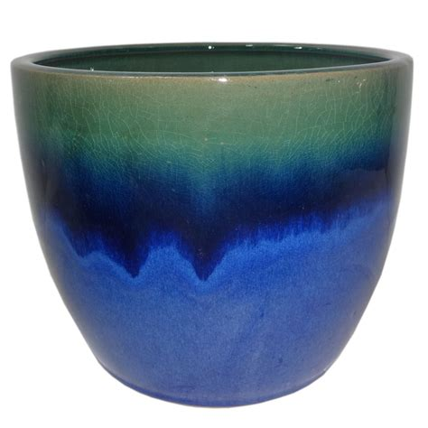 blue planter shop allen roth 10 63 in x 9 84 in blue green ceramic planter at lowes