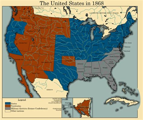 map of the united states union and confederate the united states in 1868 by thearesproject on deviantart