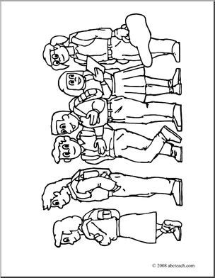 in color line up clip standing in line coloring page i