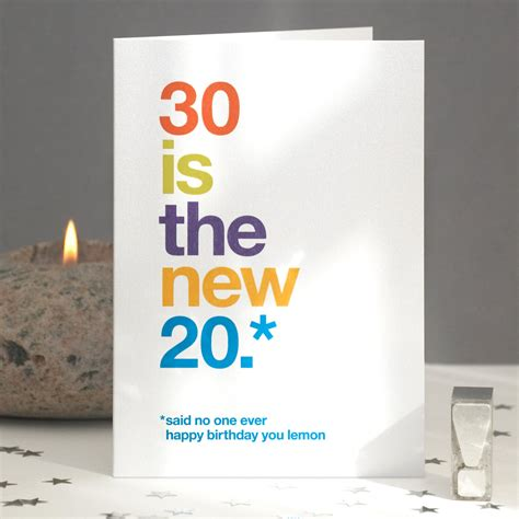 30 Years Birthday Quotes Funny 30th Birthday Card Sarcastic 30th Card Funny 30th