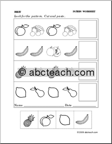 Galerry search results for cut and paste pattern worksheets