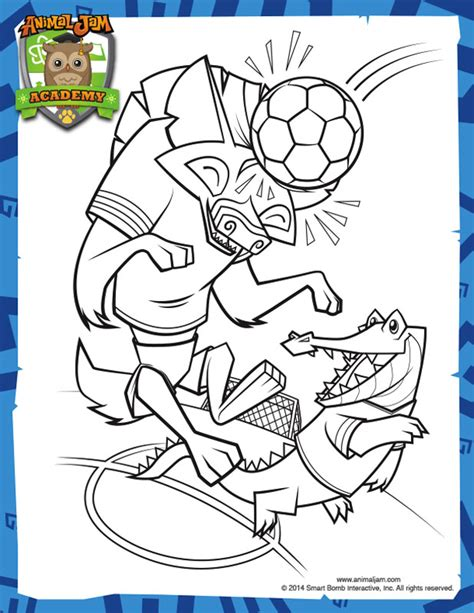 coloring pages for animal jam soccer coloring page animal jam academy