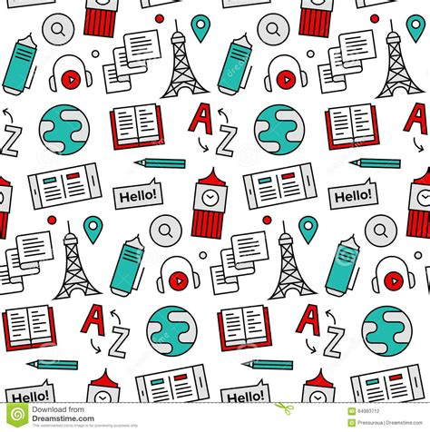 Pattern English Speaking | language school seamless icons pattern stock vector