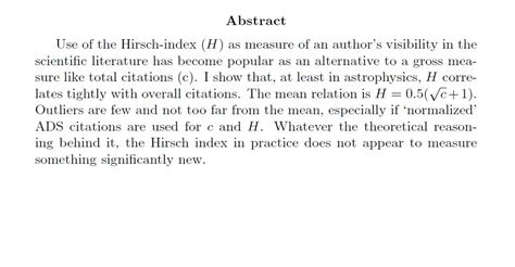 An Abstract For A Research Paper - h index in the
