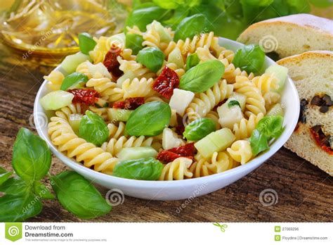 delicious pasta salad delicious pasta salad with sun dried tomatoes royalty free