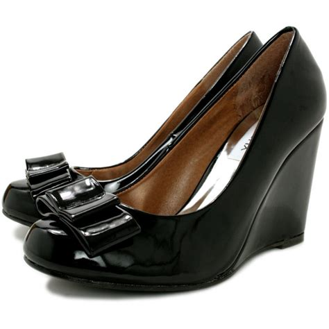 buy panama wedge heel court shoes black patent