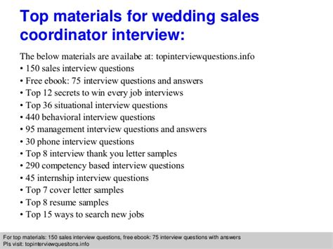 wedding sales coordinator questions and answers