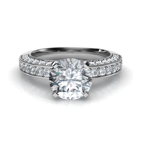 three sided pave diamonds engagement ring