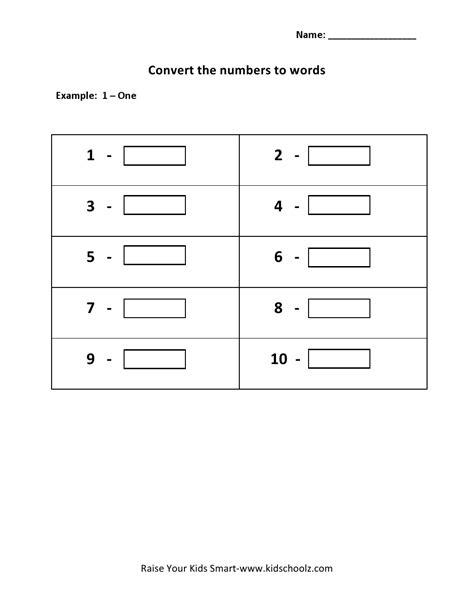 Number Words Worksheet 1 10 by Grade 1 Convert Numbers To Words Worksheet 1 10