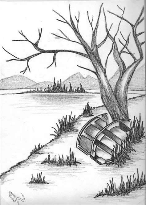 Black And White Drawing by Mtural Black And White Pencil Landscape Pencil