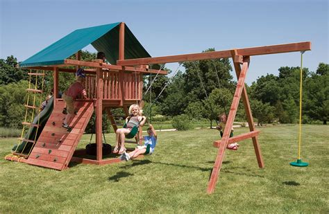 Crafted Wood Swing Sets With 3 Swings Three Ring Adventure