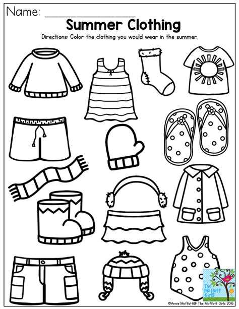 preschool activities summer clothing color the items that you would wear in