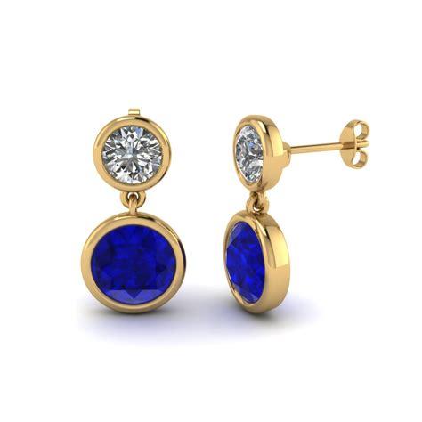 Poppy Drops Free Earrings Lets bezel drop earring with sapphire in 14k