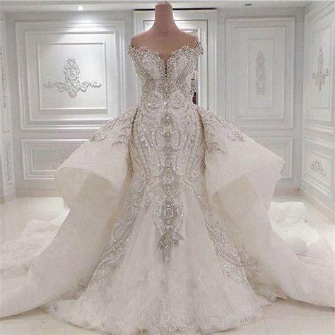 Mermaid Blingbling Size S Dan M luxury 2016 bling mermaid wedding dress with detachable shoulder neck trumpet chapel