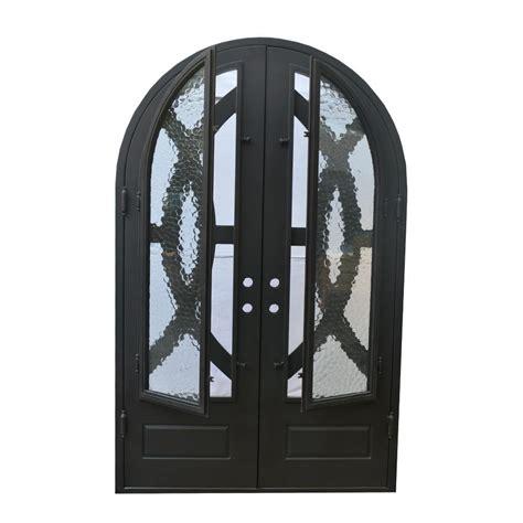 Exterior Wrought Iron Doors Grafton Exterior Wrought Iron Glass Doors Eclipse Collection Black Right Inswing 98 Quot X62