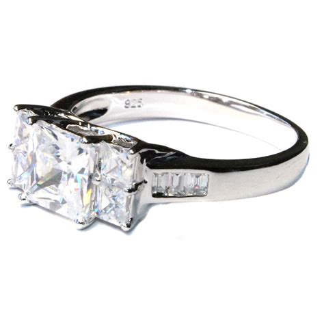 princess cut promise ring with 5 white cubic