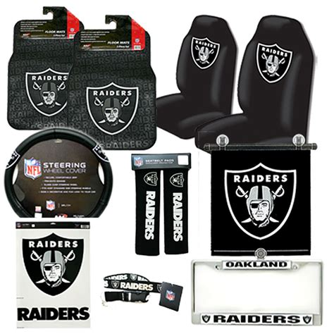 nfl oakland raiders car seat cover auto accessories set