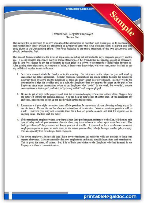 Printable Employee Termination Form