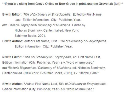 chicago format footnotes exle encyclopedias dictionaries music citations turabian