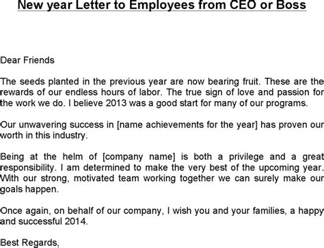 new year letter to employees from ceo or for