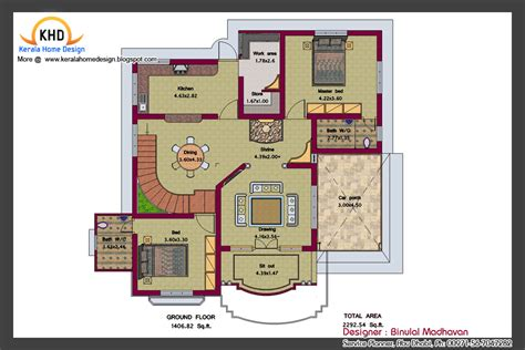 home design plans ground floor house plan and elevation 2292 sq ft kerala home design and floor plans