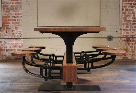 Swing Out - industrial swing out seat cafe table vintage industrial