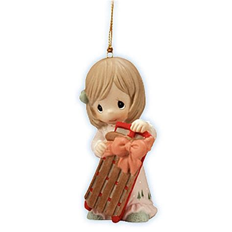 girl with christmas sled precious moments ornament