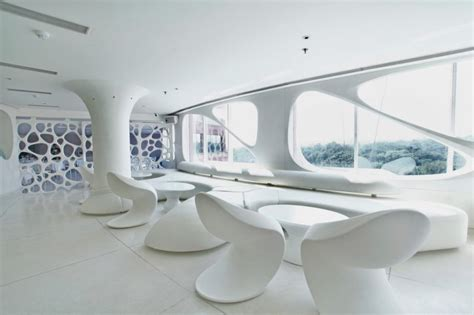 organic interior design modern restaurant with white and soft organic interior