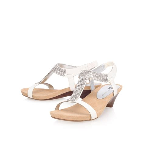 klein sandals klein teale3 mid heel gladiator sandals in white lyst